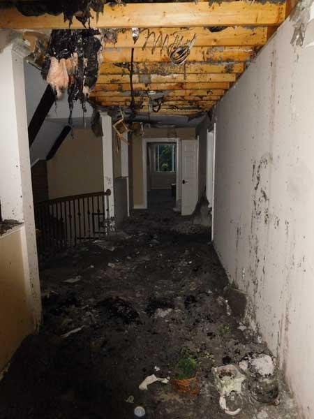 burned hallway