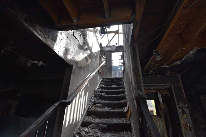 burned stairs
